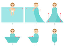 How to swaddle a newborn baby Royalty Free Stock Photos