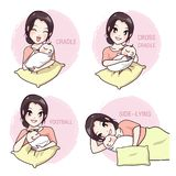 How to take a baby by a mother. How to true take a baby by a mother and love in the pink background vector illustration