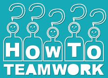 How to? That is teamwork. Team with heads in guestion mark shape and with letters on shirt.  Stock Images