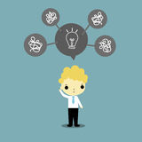 How to think. Businessman and lightbulb as best idea above his head on blue background Royalty Free Stock Photos