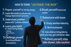 How to think outside the box. Businessman writing how to think outside the box for business concept Stock Photography