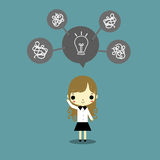How to think version2. Businesswoman and lightbulb as best idea above his head on blue background Royalty Free Stock Photos