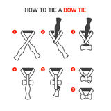 How to Tie a Bow Tie. Instructions royalty free stock images
