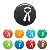 How to tie icons set color stock illustration