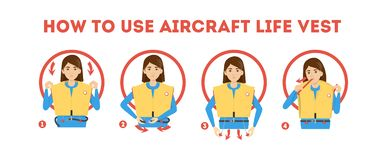 Free How To Use Airplane Life Jacket Instruction. Demonstration Royalty Free Stock Photo - 142943965