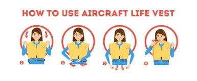 How to use airplane life jacket instruction. Demonstration stock illustration
