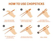 How to use chinese or japanese chopsticks stock illustration