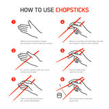 How to use chopsticks. Guidance Royalty Free Stock Photos