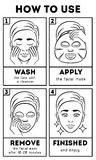 How to use facial sheet mask. Vector beauty and care instruction vector illustration