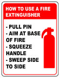 How to use a fire extinguisher informational banner. Vector symbol and text Stock Images