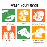 How to wash your hands. To avoid germs and other bad viruses. on orange and green style Stock Photos