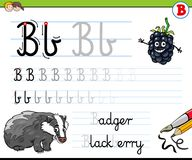How to write letter B worksheet for kids Royalty Free Stock Photography