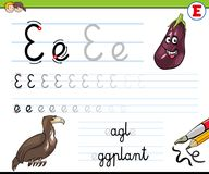 How to write letter E worksheet for kids Royalty Free Stock Images