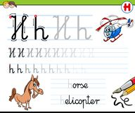 How to write letter H worksheet for kids Stock Photography