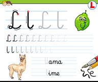 How to write letter L worksheet for kids Royalty Free Stock Image