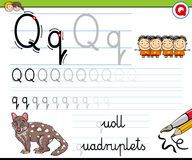 How to write letter Q worksheet for kids Royalty Free Stock Photos