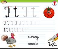 How to write letter T worksheet for kids Stock Photo