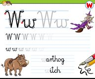 How to write letter W worksheet for kids Royalty Free Stock Photography