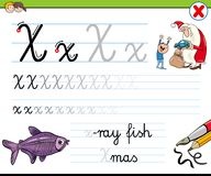 How to write letter X worksheet for kids. Cartoon Illustration of Writing Skills Practice with Letter X Worksheet for Preschool and Elementary Age Children Stock Photography