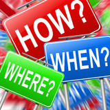 How when and where. Stock Image