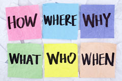 How Where Why Who What When Questions Royalty Free Stock Photography
