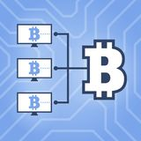 How work cryptocurrency network flat scheme illustration. Computers with Bitcoin sign on chipset background. Stock Images