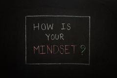 HOW IS YOUR MINDSET? on black background. Royalty Free Stock Photo