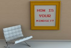 HOW IS YOUR MINDSET, message on picture frame, chair in an empty room royalty free illustration