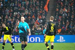 Howard Webb and Bender in the Champions League Royalty Free Stock Photography