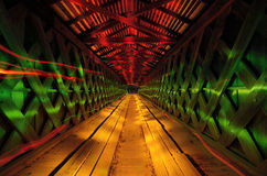 Howards covered Bridge. Light painted in Northeast Georgia, USA Royalty Free Stock Image