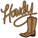 Howdy Cowboy Rope and Boot Royalty Free Stock Photo