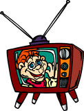 Howdy Doody. Old style retro TV with Howdy Doody playing royalty free illustration