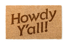 Howdy Yall Welcome Mat On White Royalty Free Stock Image