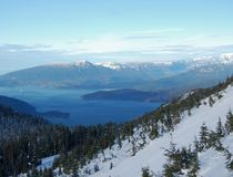 Howe Sound in winter. Howe Sound as seen from a chairlift, at Cypress Mountain, site of the 2010 Olympics. Bowen Island , Gambier Island and Sunshine Coast are Stock Image