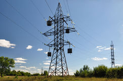 Hower lines with transformer. Stock Image