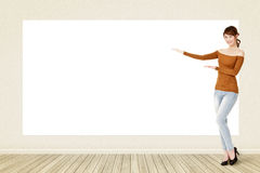 Howing blank white banner Stock Photo