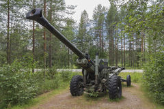 Howitser model 152 h. Howitser 152h in the woods east Finland stock photos