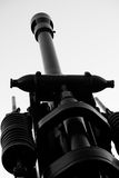 Howitzer artillery detail. Anti-aircraft artillery type howitzer pointing at the sky Royalty Free Stock Photos
