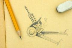 howitzer Blyertspennateckning med blyertspennan och radergummit Royaltyfria Foton