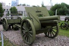 Howitzer 122mm δείγμα του 1910/30 ΕΣΣΔ με τη δικαιολογία του εξοπλισμού Στοκ φωτογραφία με δικαίωμα ελεύθερης χρήσης