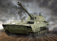 Howitzer motorised tank Stock Photography