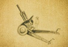 Howitzer. Pencil hand drawing Stock Photos