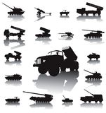 Artillery set. Howitzer and rocket artillery silhouettes set. Vector on separate layers stock illustration