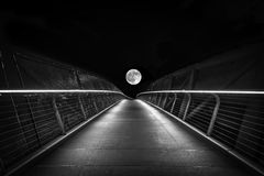 Howl at the moon. If you walk to the end of the path you get to touch the moon Royalty Free Stock Image