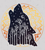 Howling double exposure wolf, forest background. Royalty Free Stock Image