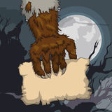 Howling Werewolf Holding a Old Paper in Full Moon Night, Vector Illustration. Howling werewolf holding a old paper in a spooky terror night with full moon night Stock Photography