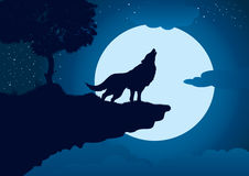 Howling Wolf. An illustration of a wolf howling at the edge of a cliff, with full moon in the background stock illustration