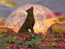Howling wolf - 3D render Stock Photos