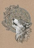Howling wolf, dog on the background of the mandala Stock Image