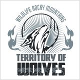 Howling Wolf emblem -  dangerous territory Royalty Free Stock Images